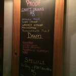 Proof at Five Points - drink menu