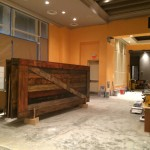 Reclaimed barn doors for the new Rye Bar and Southern Kitchen in Raleigh