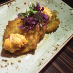 Fried Green Tomatoes Topped with Pimento Cheese