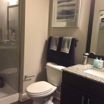 Nicely appointed bathroom in studio layout at The Lincoln Apartments