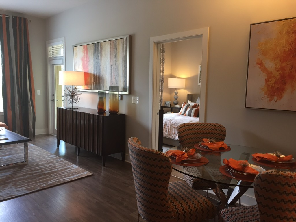 Staged one-bedroom unit at The Lincoln Apartments
