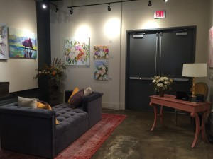 Gallery seating at Vita Vite art gallery + wine bar in Downtown Raleigh