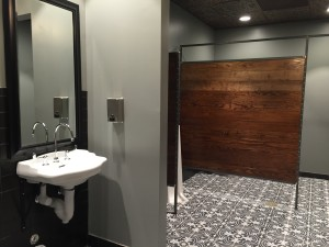 Intricate bathroom designs at Vita Vite in Downtown Raleigh