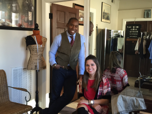 Brian Burnett, founder of Glenwood Tailors of Downtown Raleigh, with Holland Miller