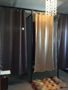 Dressing rooms at Glenwood Tailors of Downtown Raleigh