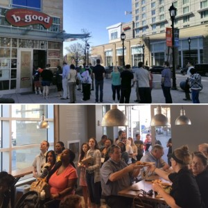 DTRNews.com | Downtown Raleigh News | Large crowds turn out on Fayetteville Street for b.good's Downtown Raleigh opening